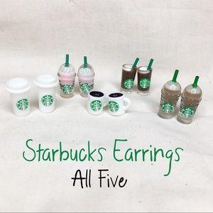 Starbucks Earrings: Set of 5